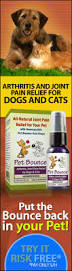Pet Bounce Vertical Banner Dog Arthritis Supplement includes neutraceuticals, steroids, NSAIDs and last but never the least, Pet Bounce oral spray