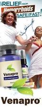 Venapro Image Hemorrhoid symptom relief consists of OTC products, diet & exercise and Venapro